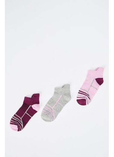Defacto –Fit Kız Çocuk Patik 3'lü Çorap Renkli